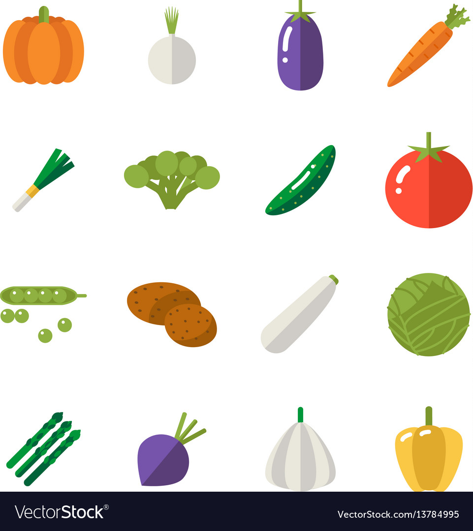 Food icons set vegetables symbols healthy and