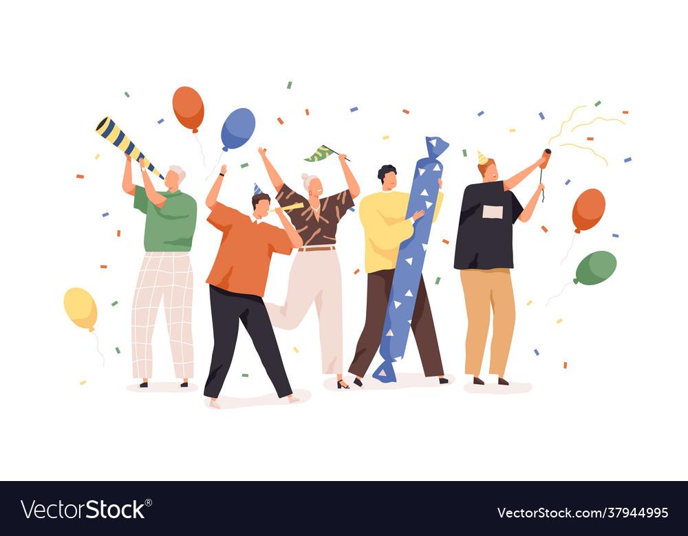 Happy people celebrating birthday with confetti