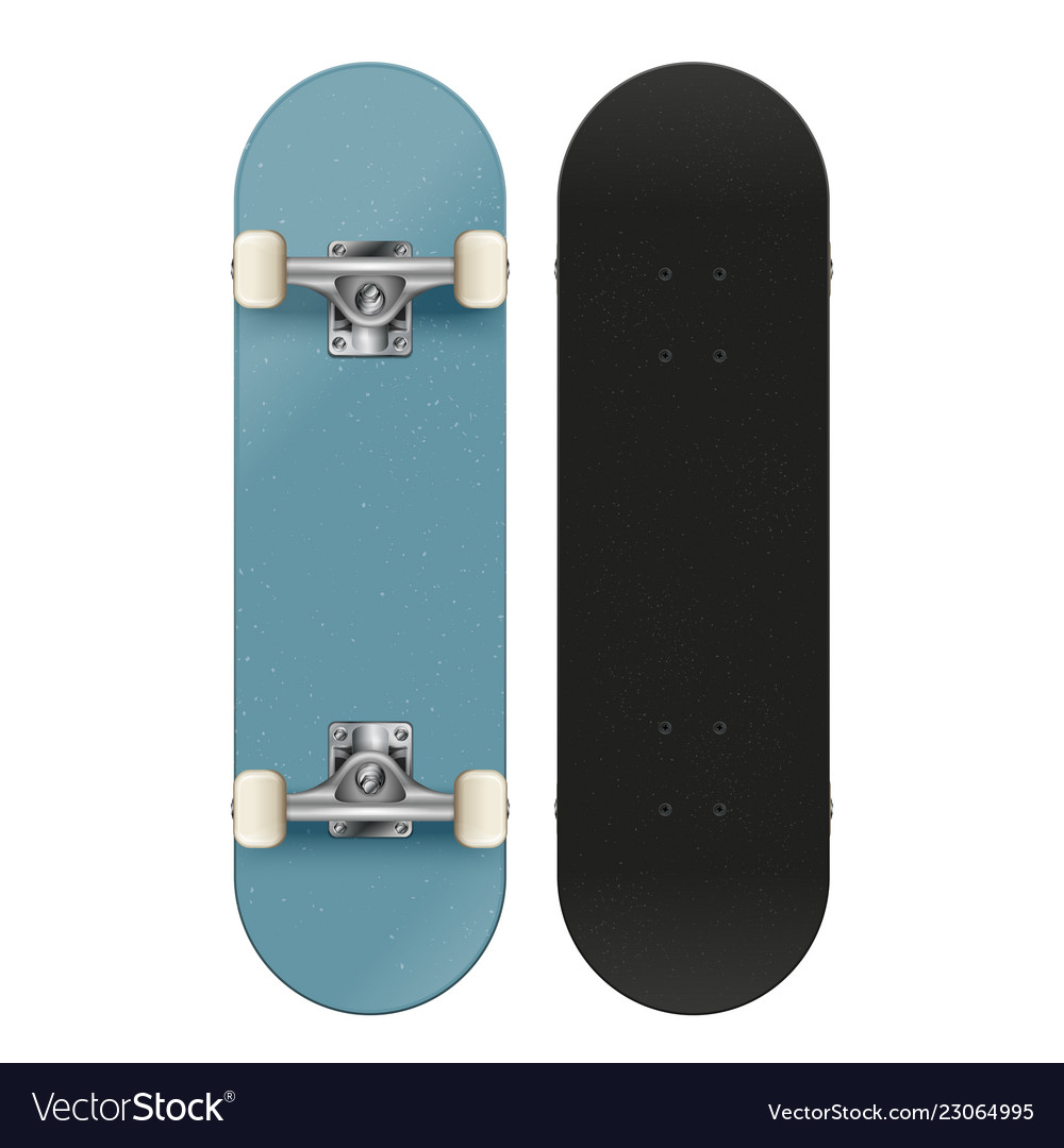 High detail skateboard front and back