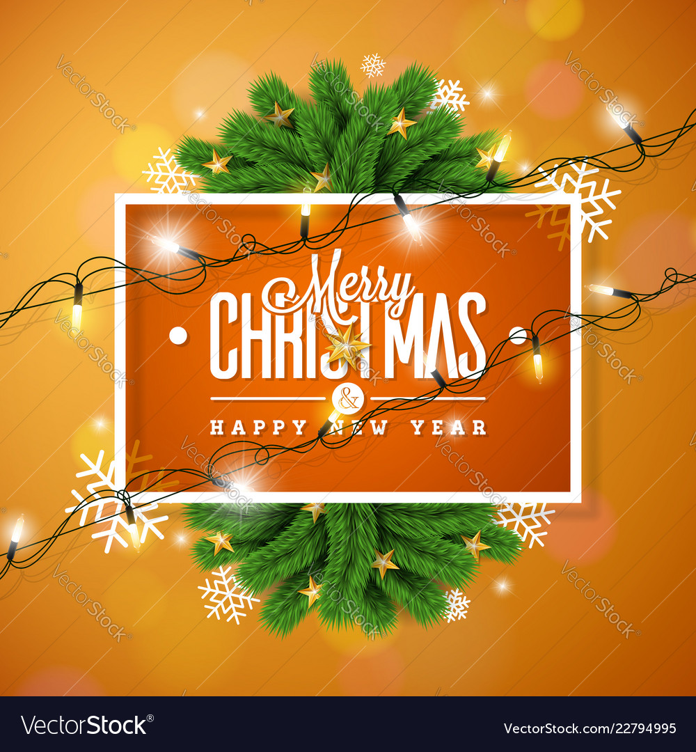 Merry christmas on orange background vector
