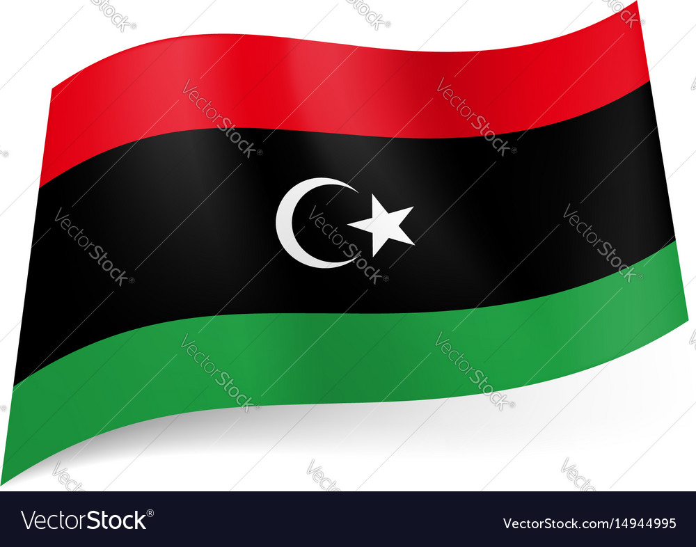National Flag Of Libya Red Black And Green Vector Image
