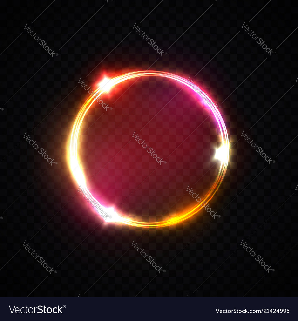 Red pink yellow neon ring light circle background