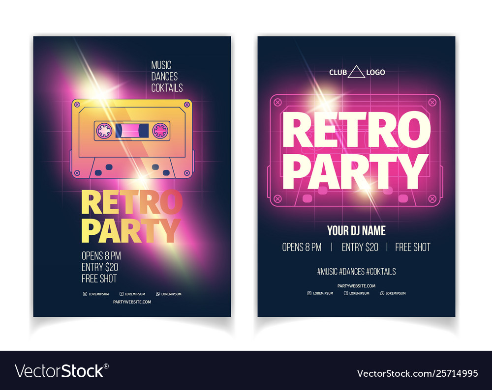Retro music party cartoon flyer template