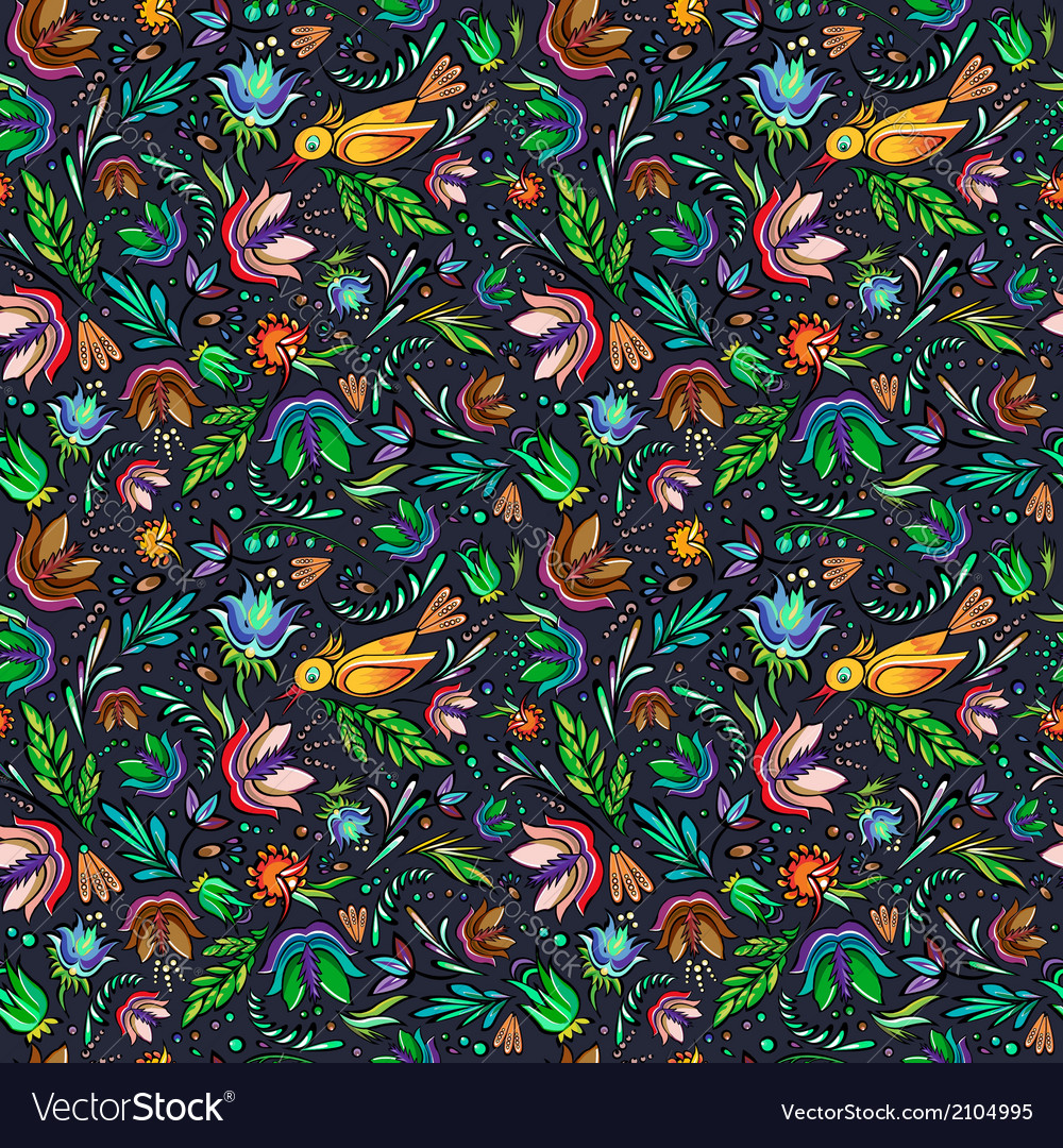 Seamless cartoon hand-drawn pattern with flowers