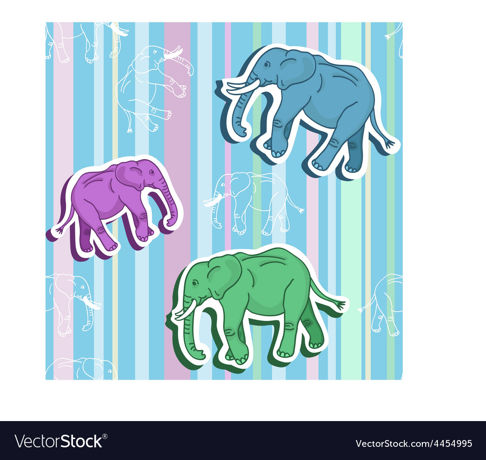 Seamless elephant pattern on stripped wallpaper