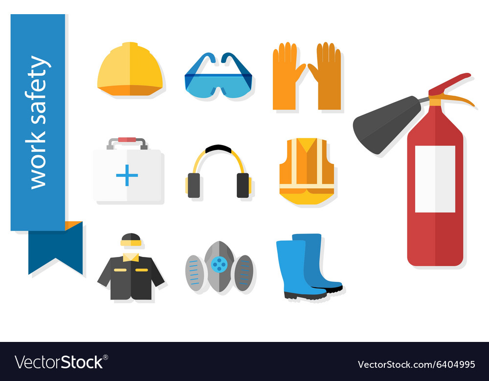 Set of flat icons for safety work