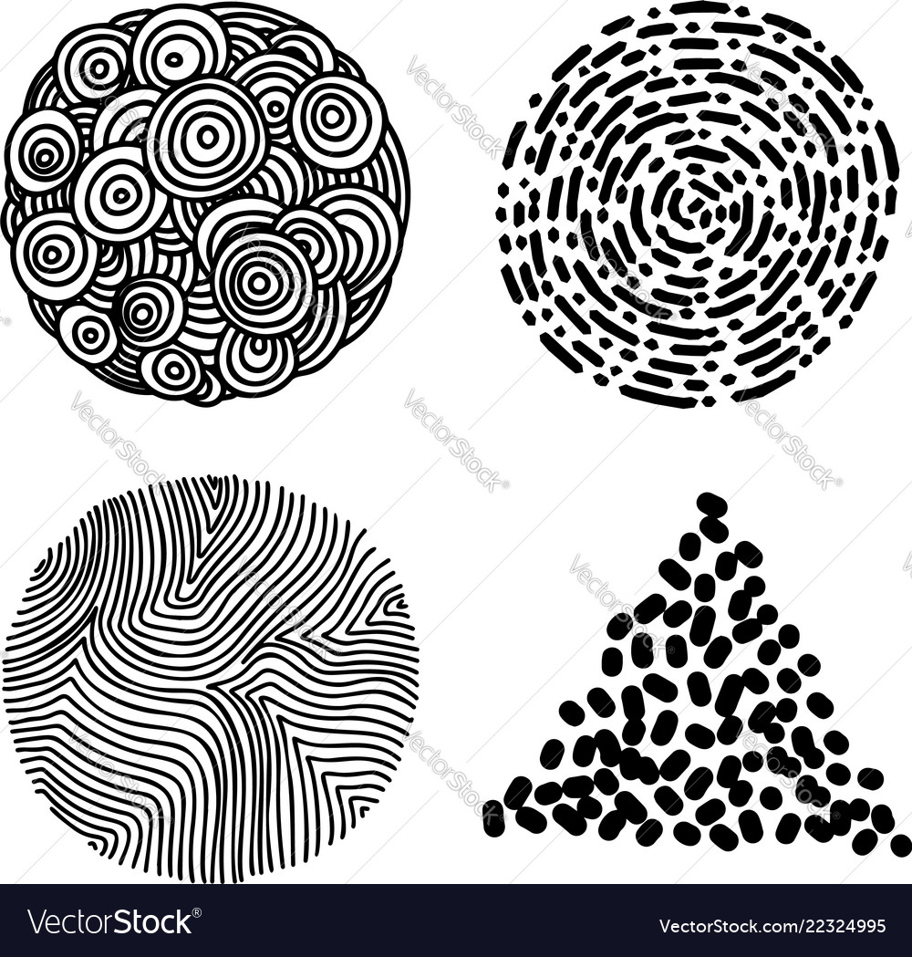 Set of hand drawn curly wavy doodle design