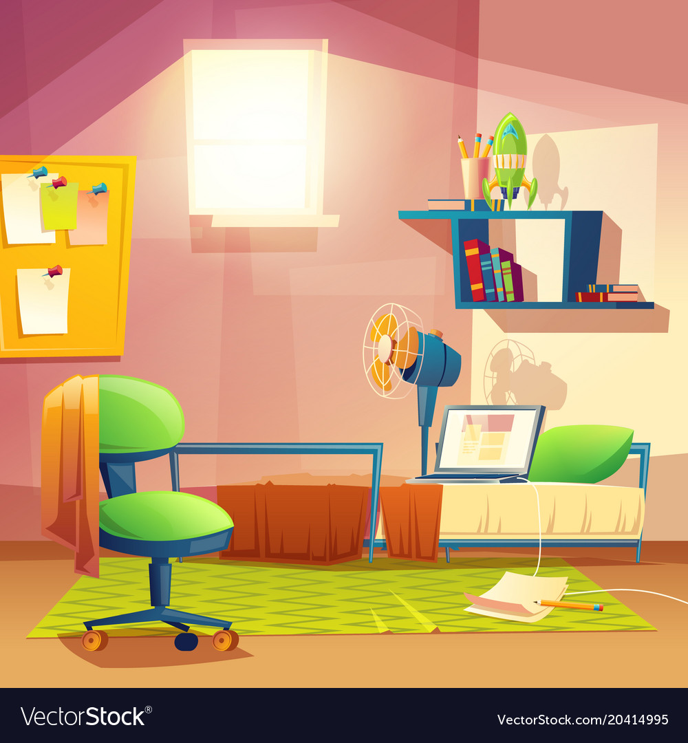 Student Small Room Cartoon Bedroom Royalty Free Vector Image