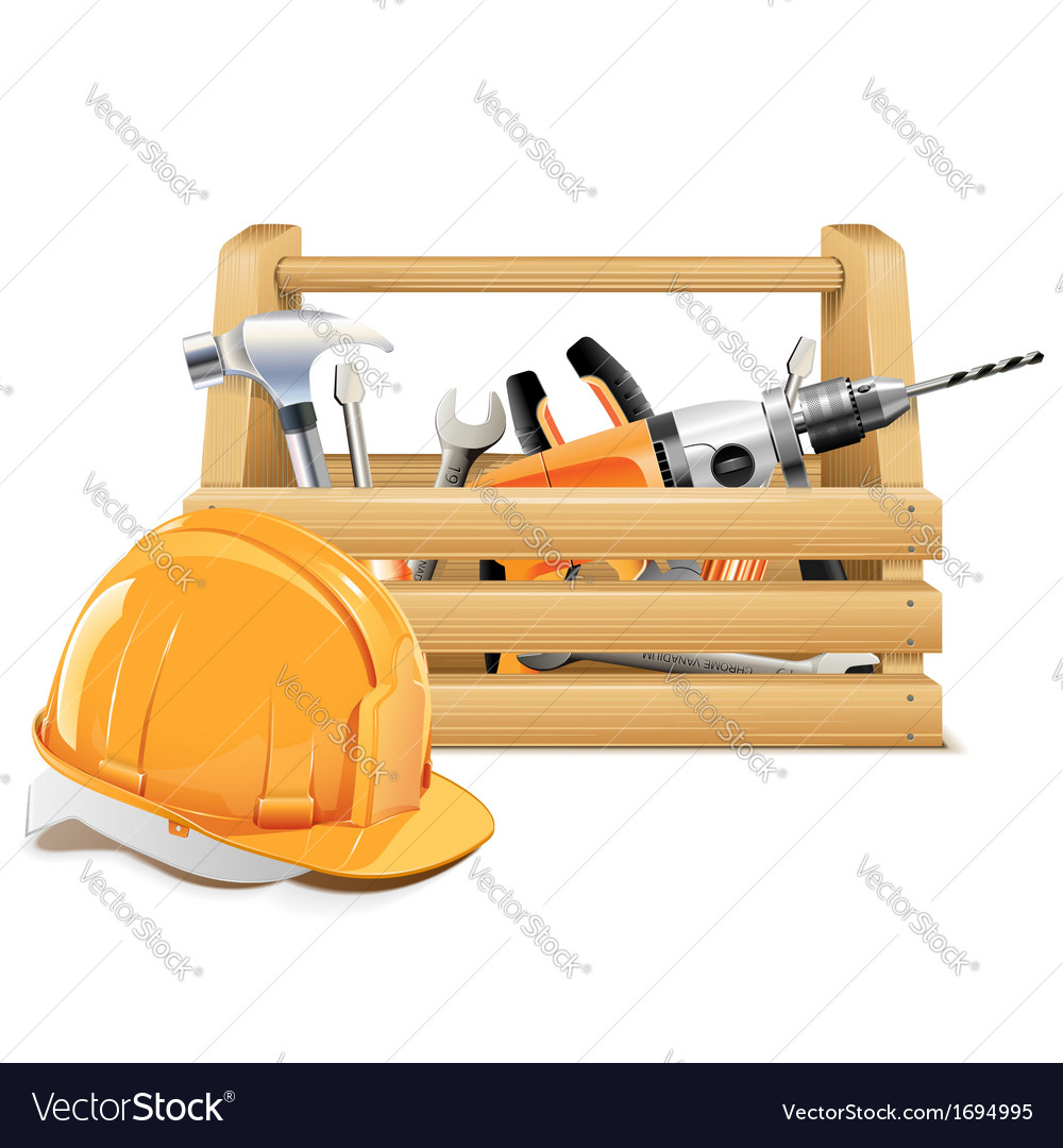 Wooden Toolbox Royalty Free Vector Image Vectorstock