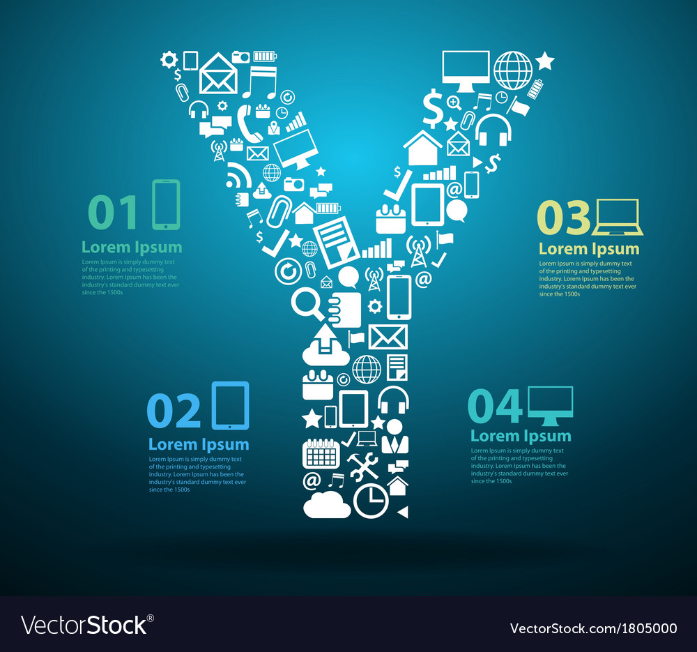 Application icons alphabet letters Y design vector image