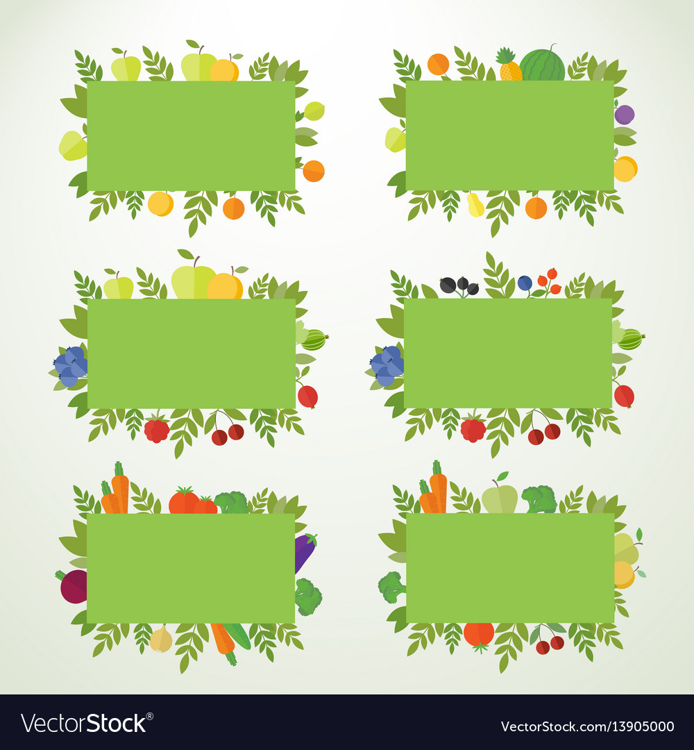 Banners with fruits berries and vegetables