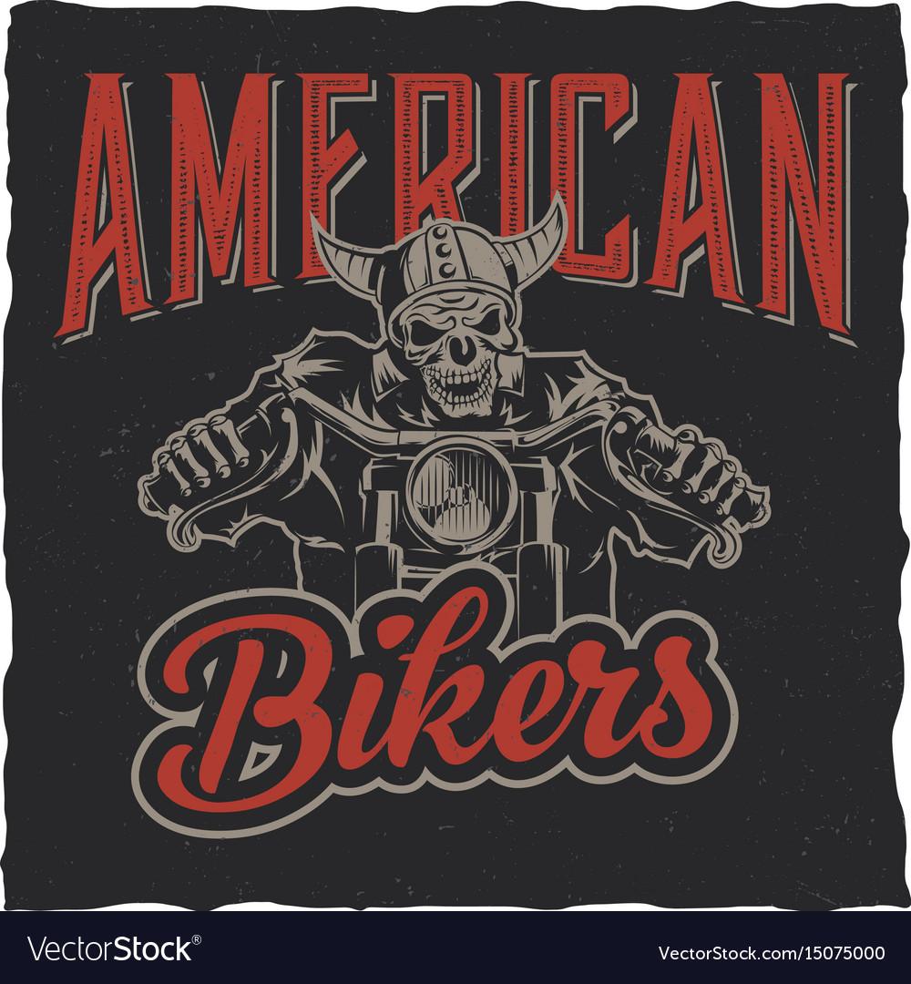 Biker t-shirt label design