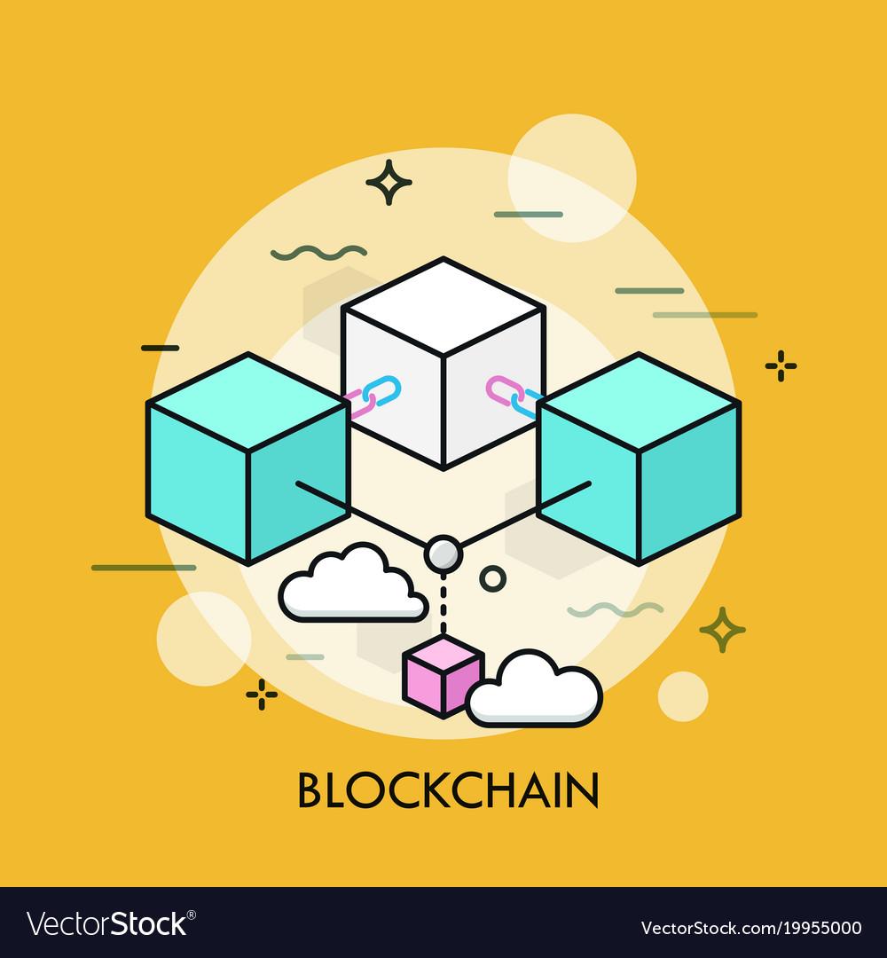 Blockchain thin line concept