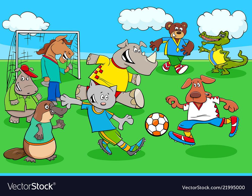 Cartoon Animal Soccer Players On Football Field Vector Image