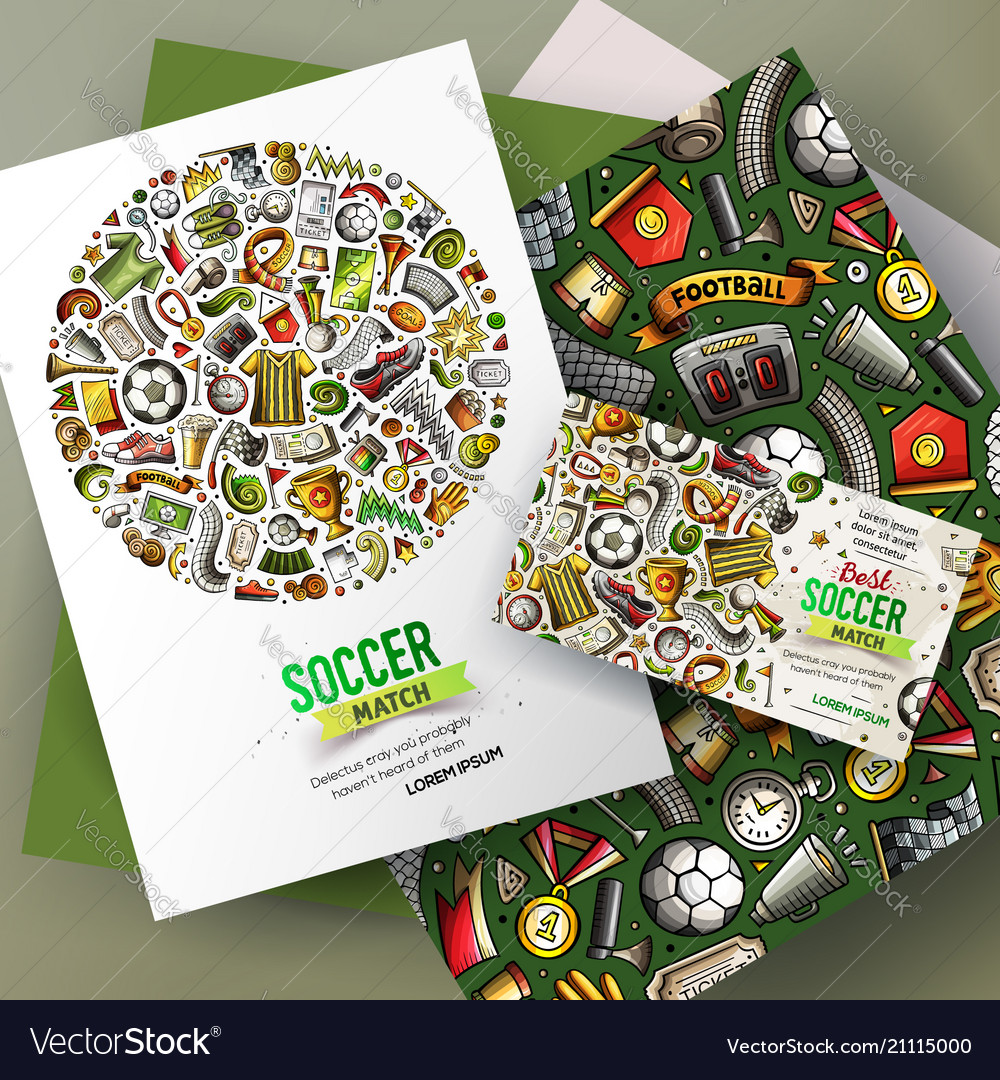 Cartoon doodles football corporate identity