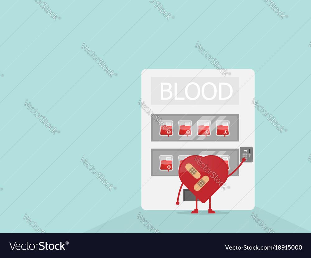 Cartoon heart buy blood from vending machine