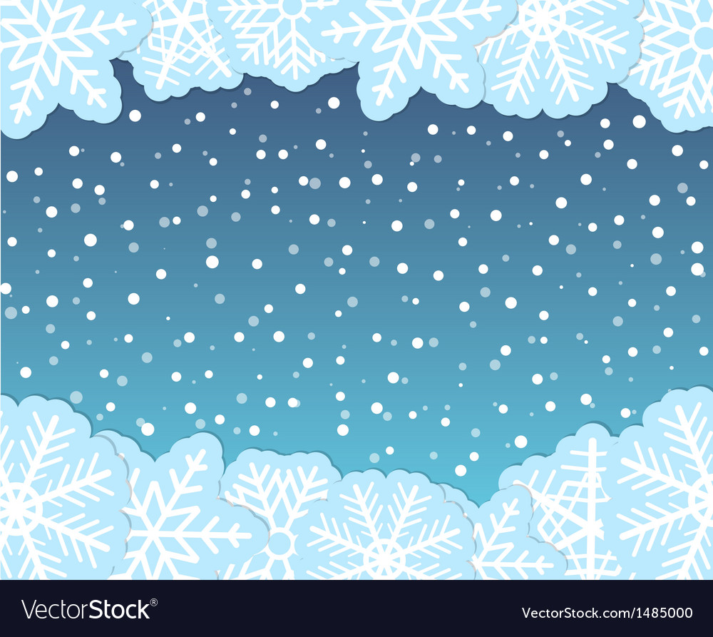 Christmas background with paper flakes vector image