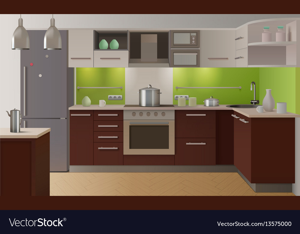 Colored Kitchen Interior Royalty Free Vector Image