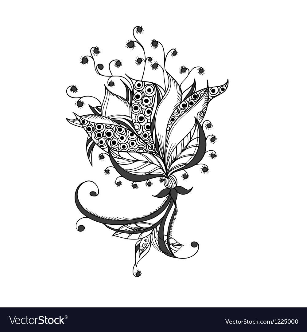 Fantasy Flower Black And White Tattoo Pattern Vector Image