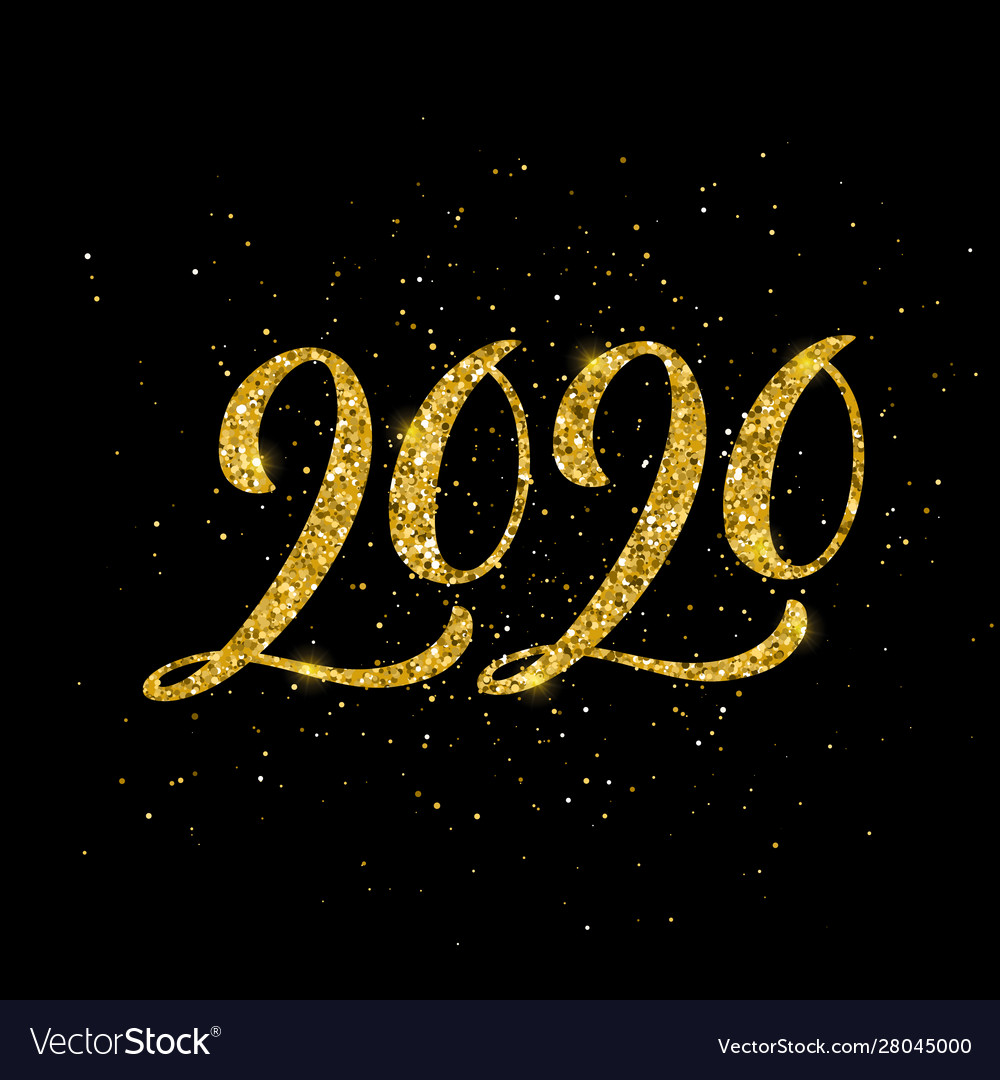 Happy new 2020 year greeting card with handdrawn