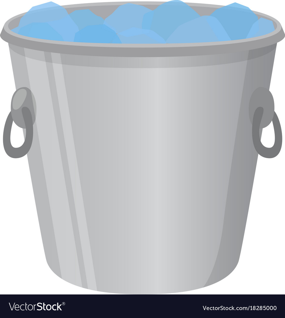 Ice bucket for alcohol cartoon flat style