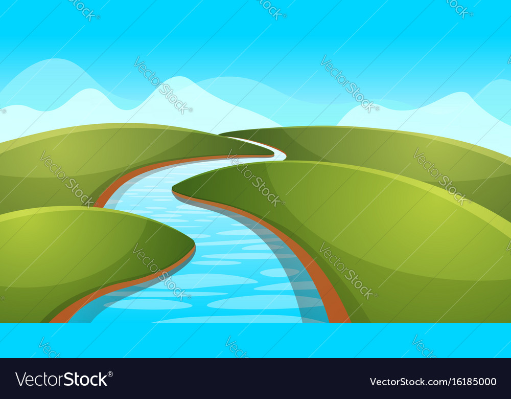 Landscape Cartoon River Sun Hill Royalty Free Vector Image