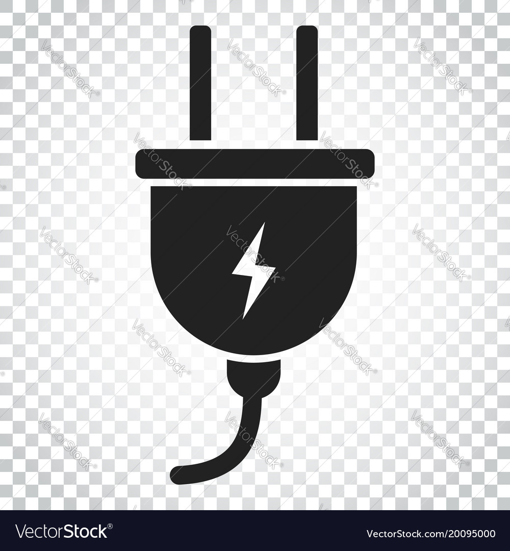 Plug icon power wire cable flat simple business Vector Image