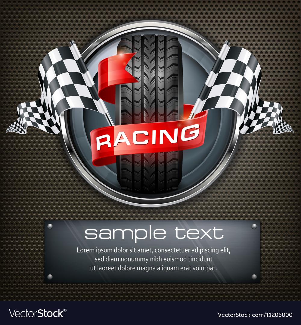 Racing emblem on black