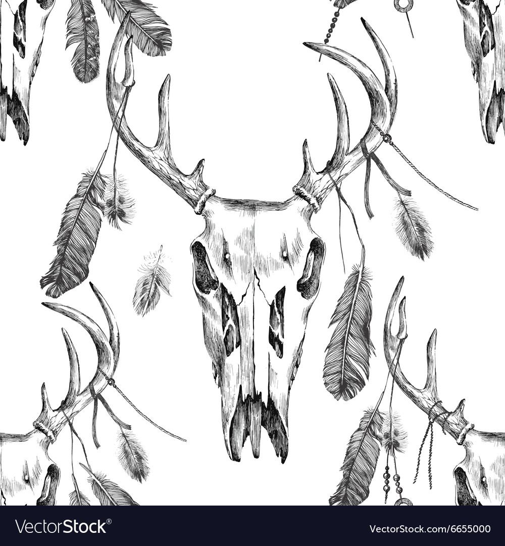 Seamless pattern with deer scull and feathers