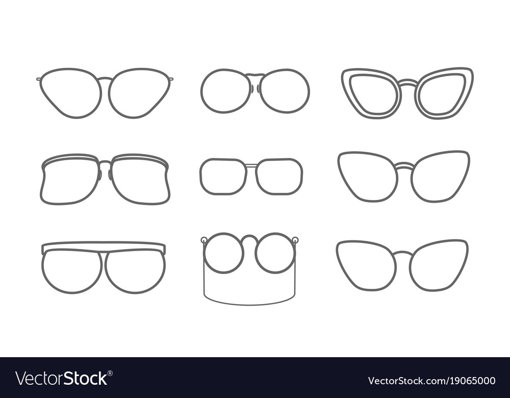 Set with eyeglasses isolated icons retro and