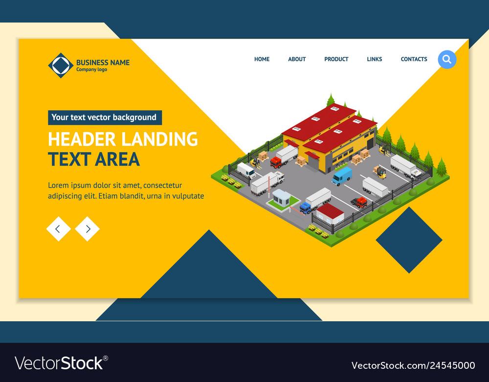 Warehouse concept landing web page template 3d