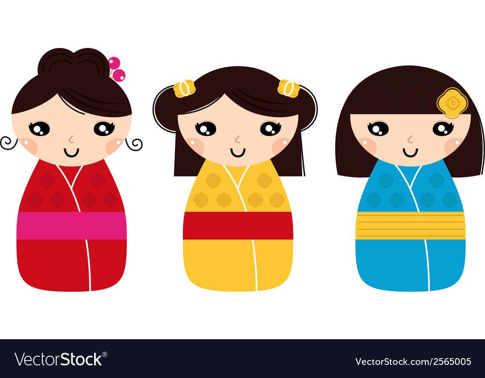 Beautiful Kokeshi dolls set isolated on white vector image