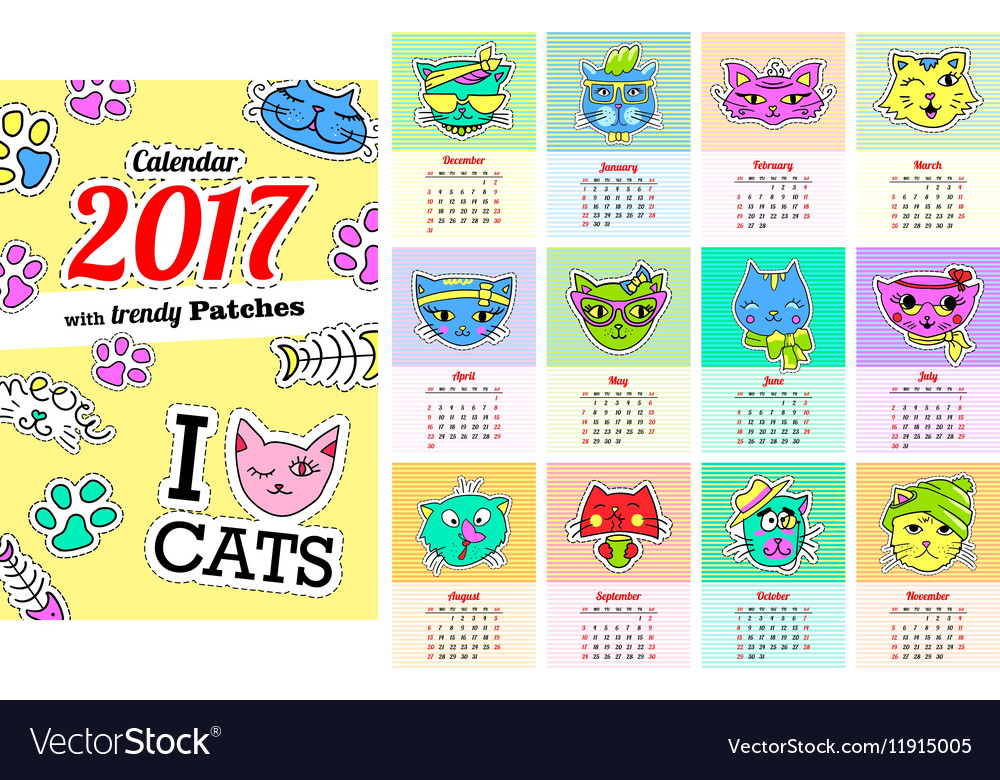 Calendar 2017 with cats In cartoon 80s-90s comic