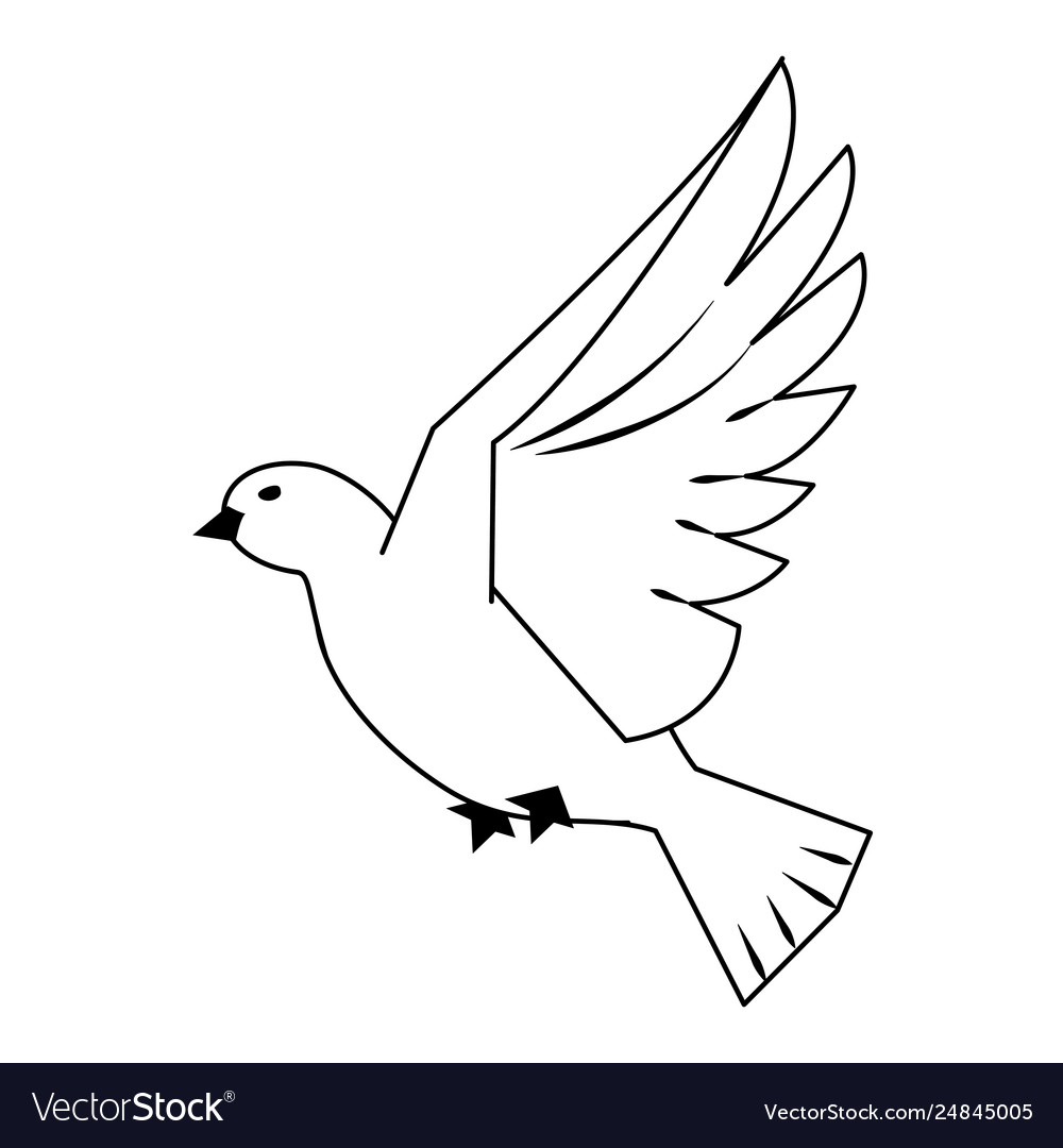 Dove Bird Flying Cartoon In Black And White Vector Image