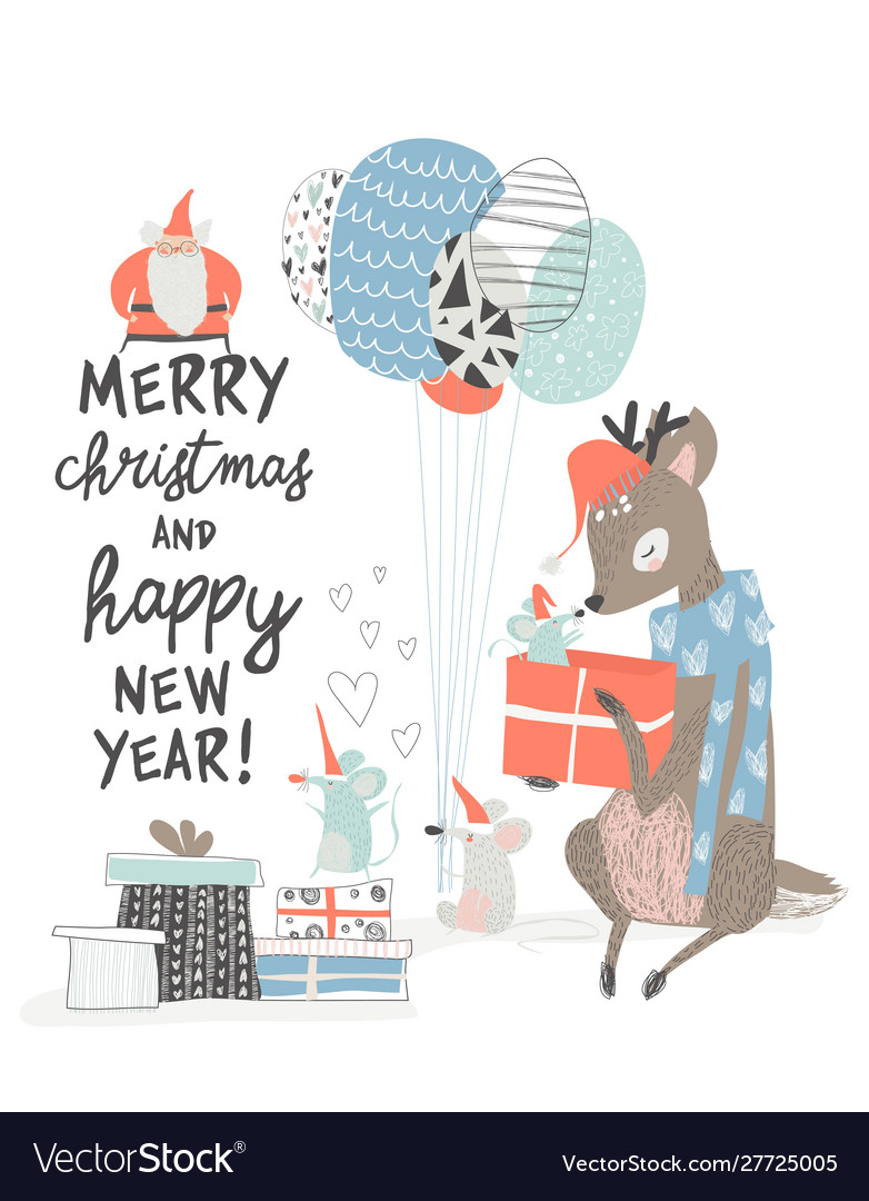 Greeting christmas card with cute deer and mouses
