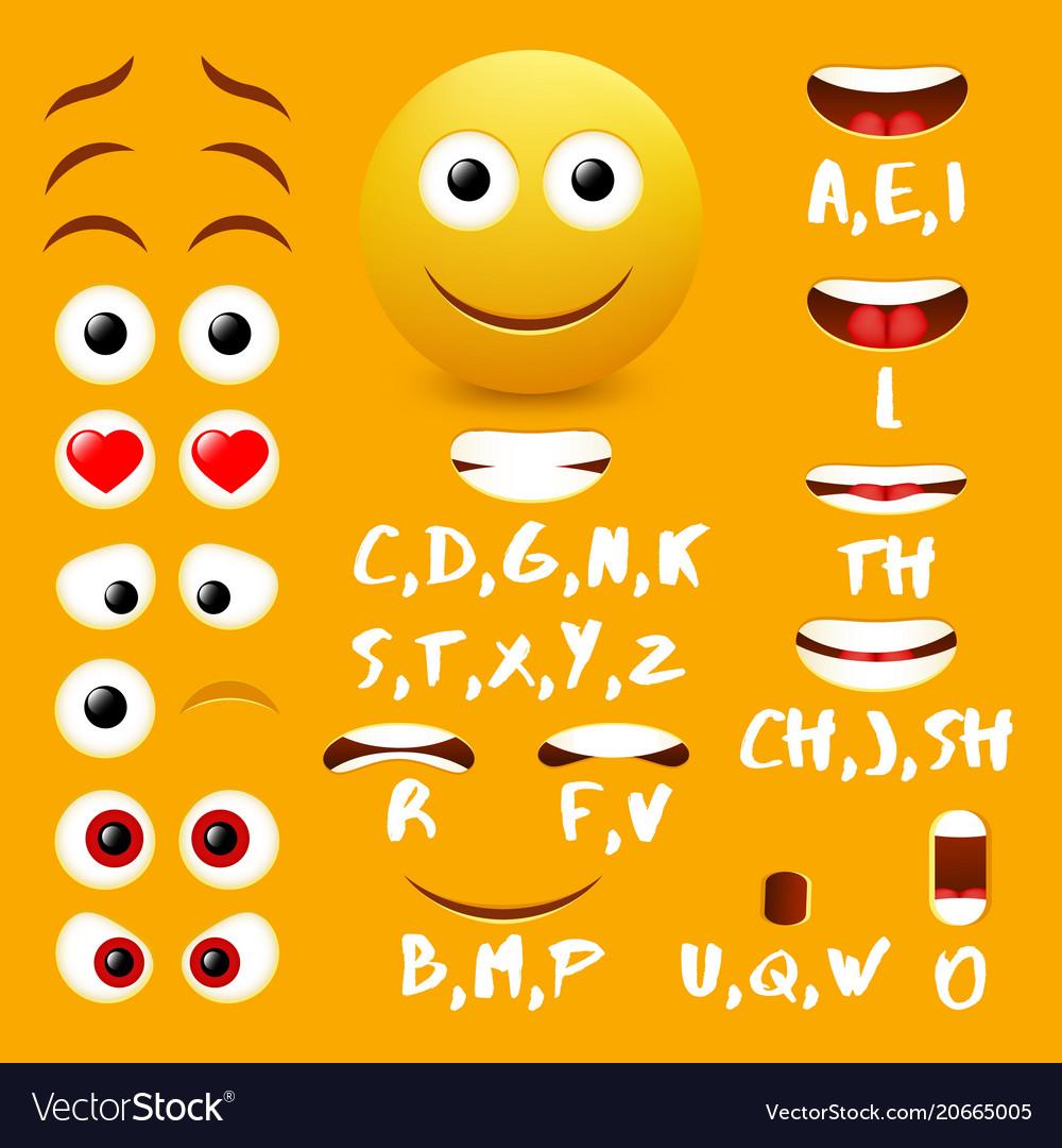 Male emoji mouth animation design elements