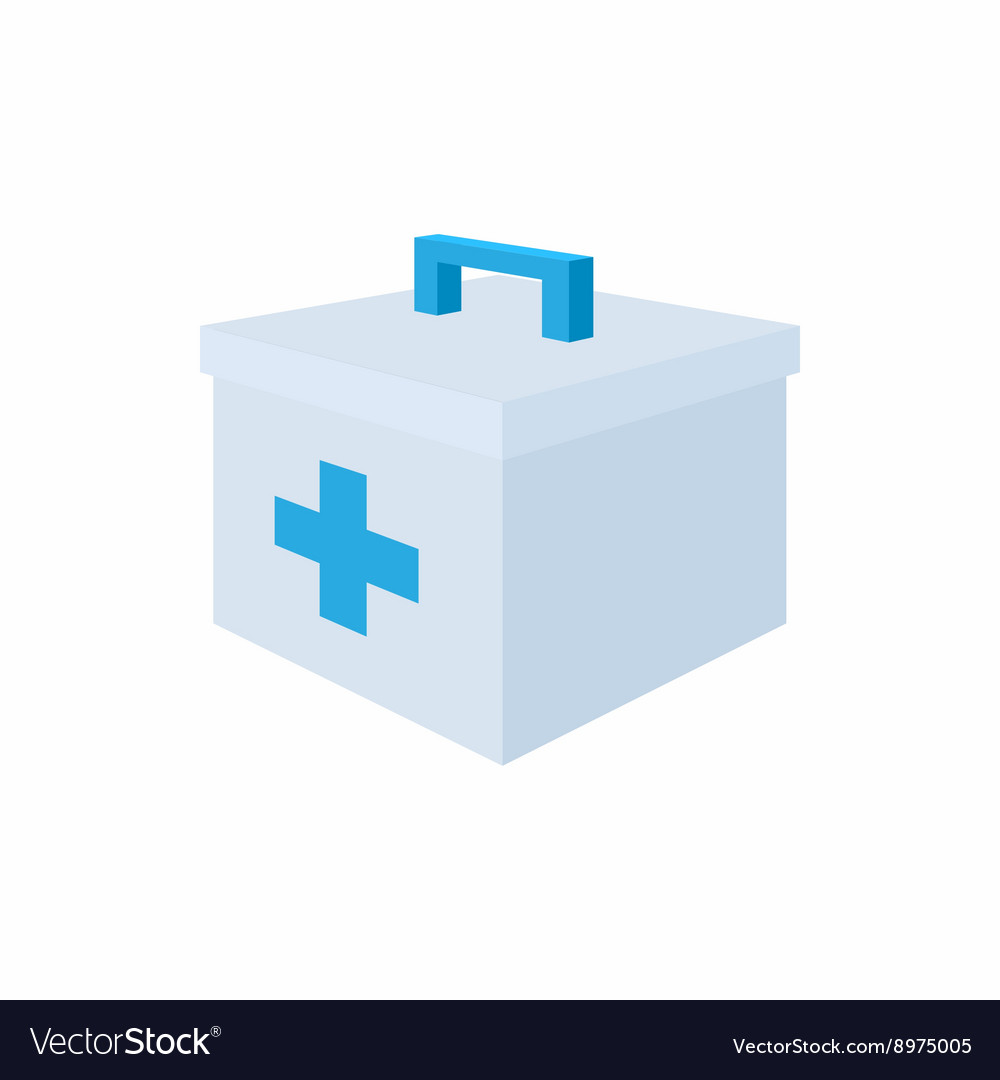 Medicine chest with blue cross icon cartoon style