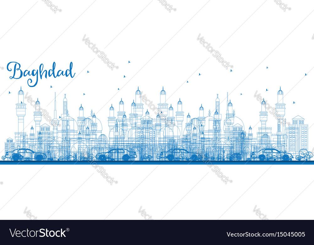Outline baghdad skyline with blue buildings