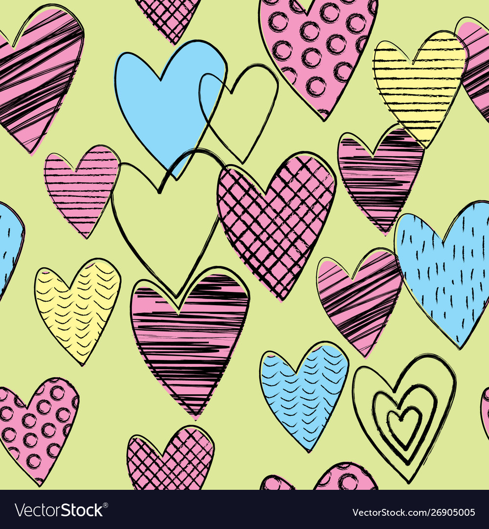 Seamless background with doodle colored hearts