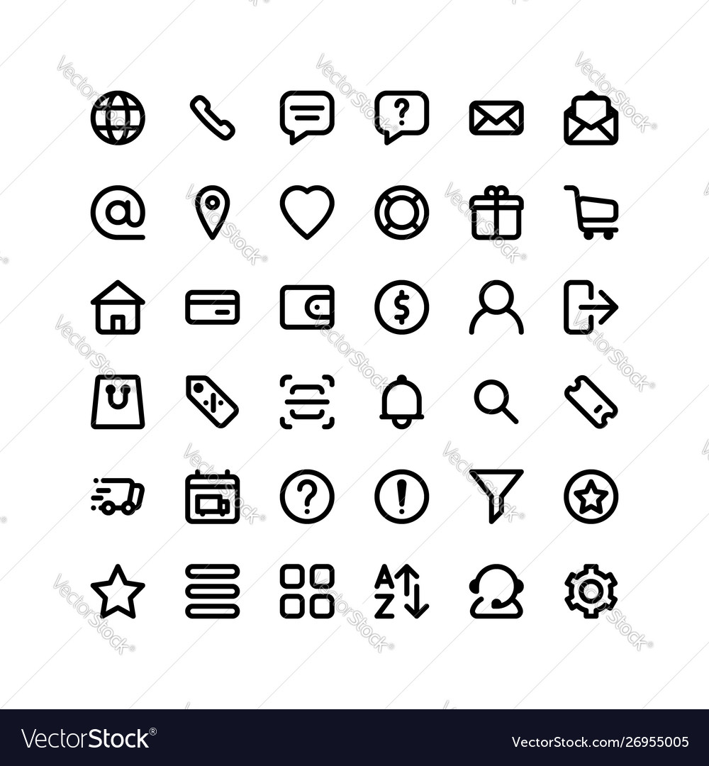 Set ecommerce icons 36 icons for web and