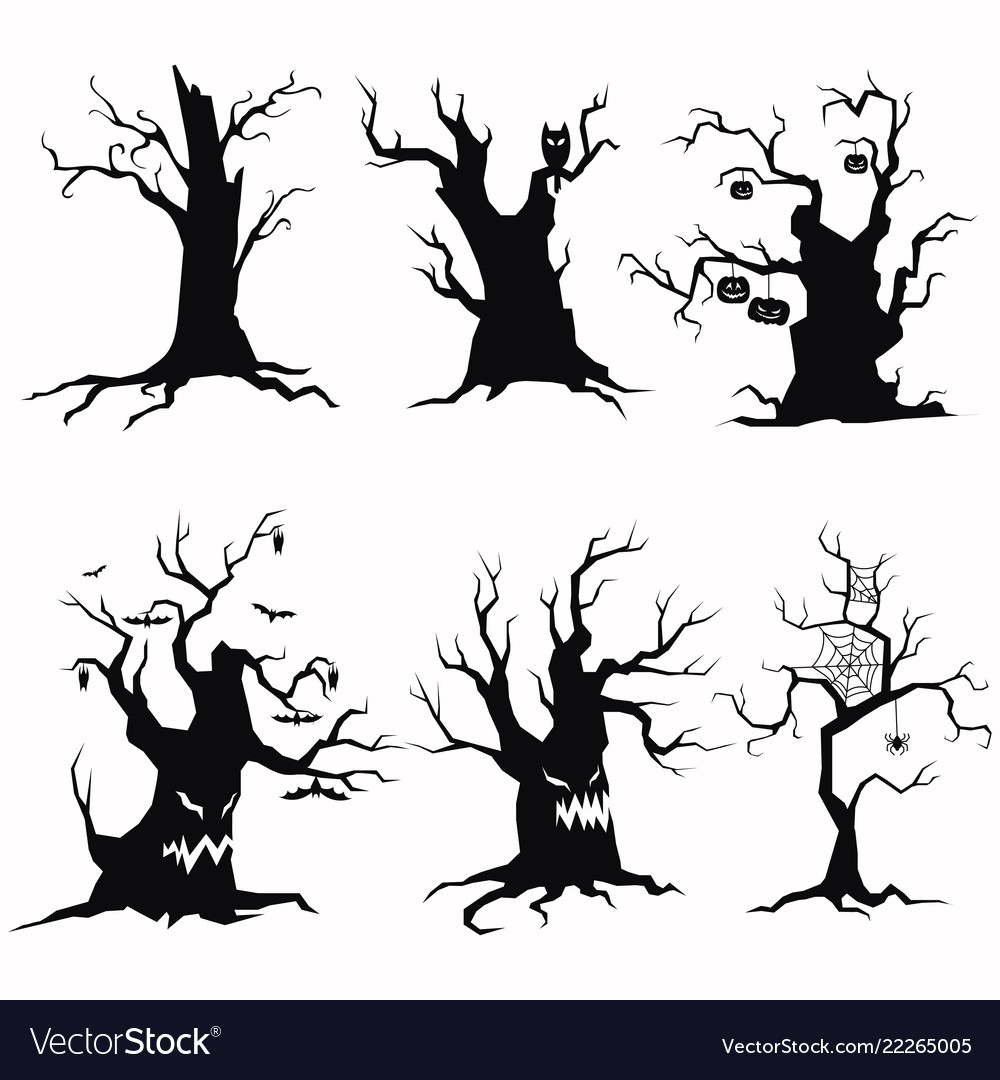Set of tree silhouettes for halloween a