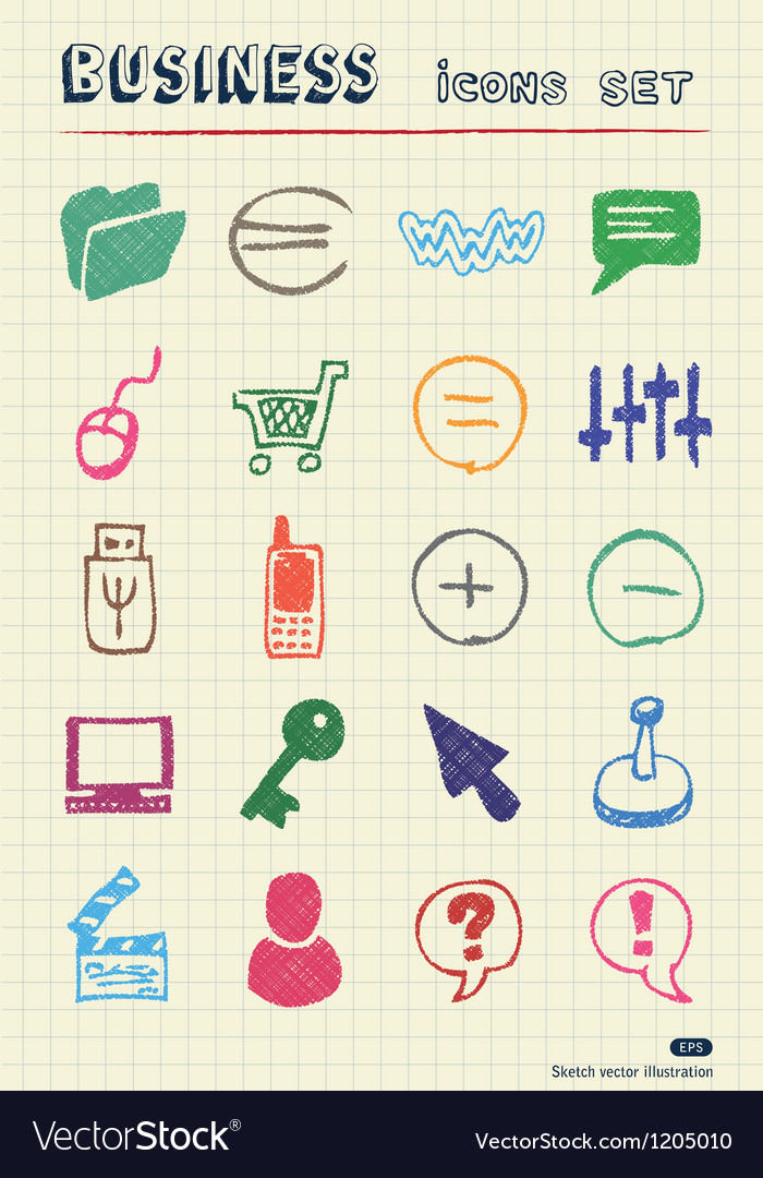 Business media and social network web icons set vector image