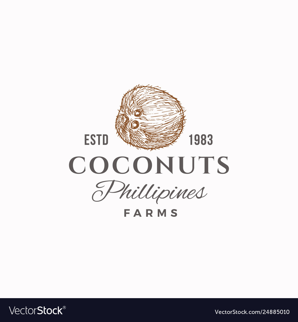 Coconuts farms abstract sign symbol or