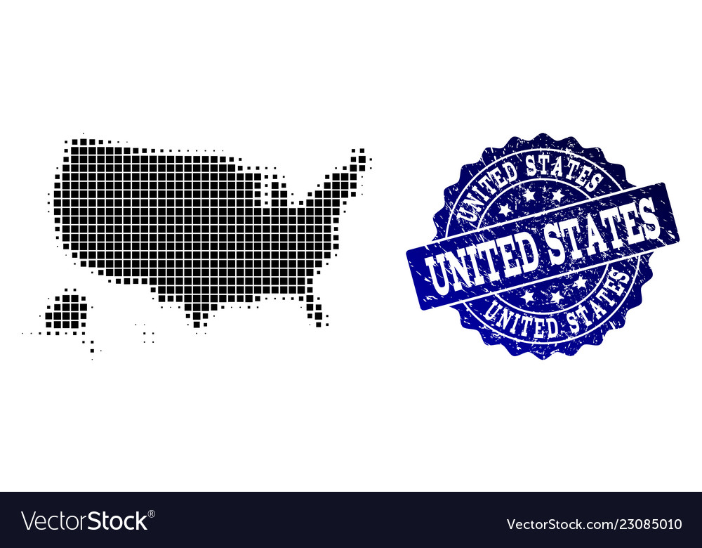 Us Map Photo Collage.Collage Of Halftone Dotted Map Of Usa Territories Vector Image