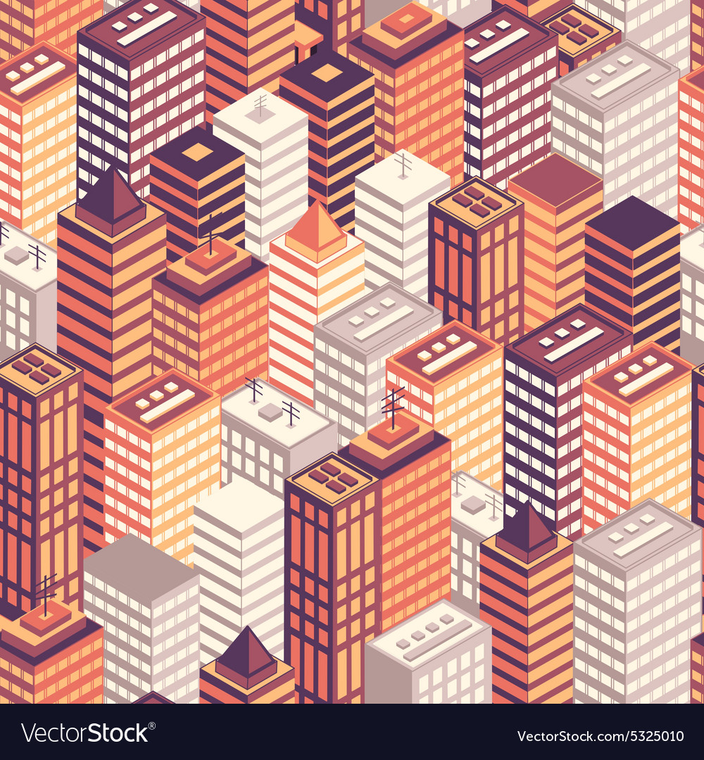 Colorful flat isometric city seamless pattern vector image
