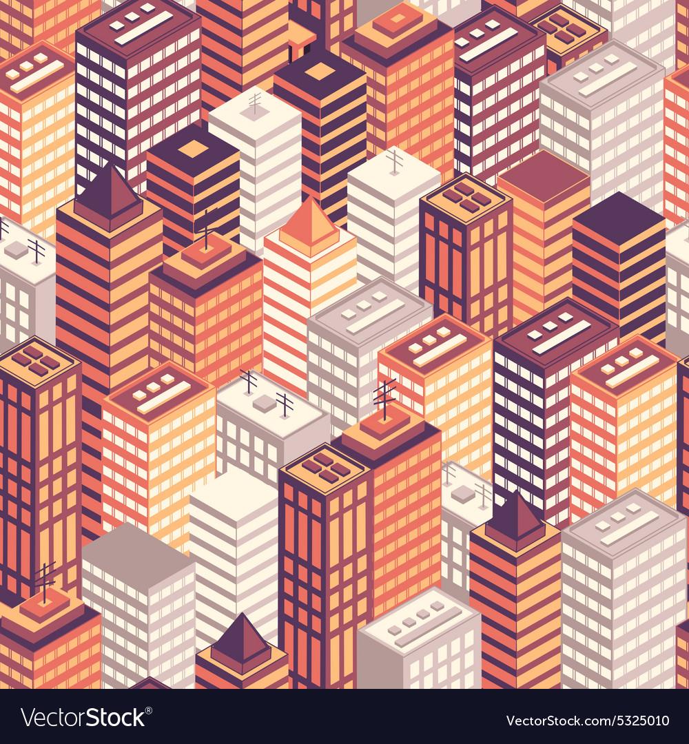 Colorful flat isometric city seamless pattern