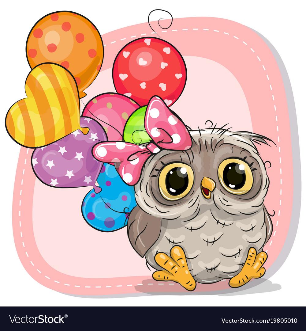 Cute cartoon owl girl with balloons Royalty Free Vector