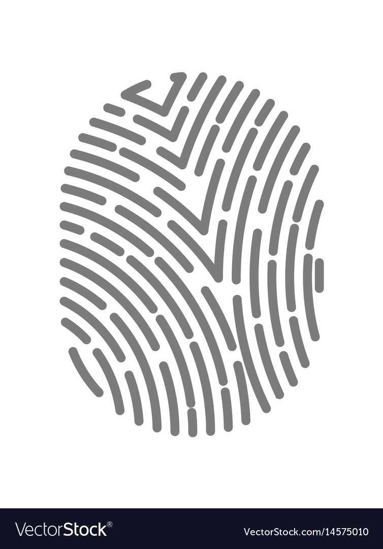 Fingerprint type with dashed line signs isolated vector image