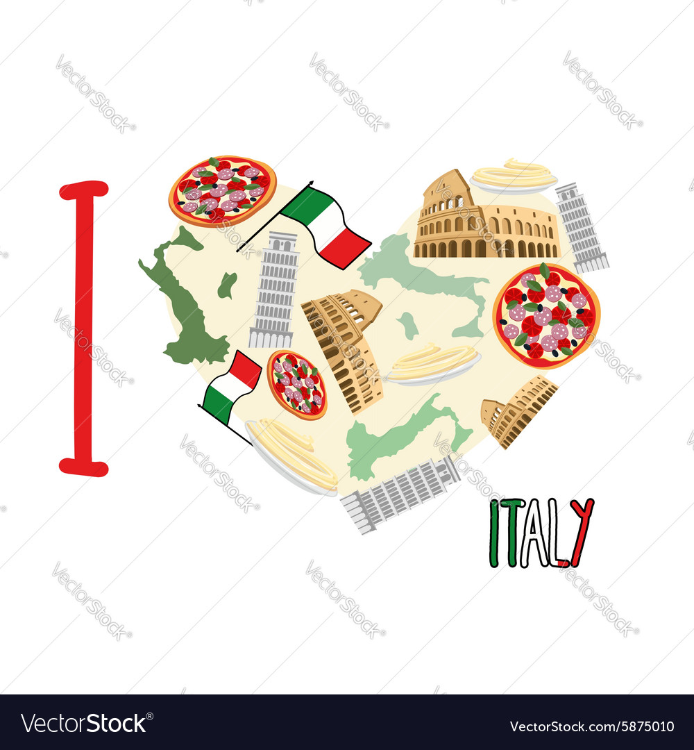 I Love Italy Symbol Heart Of Attractions Of Italy Vector Image