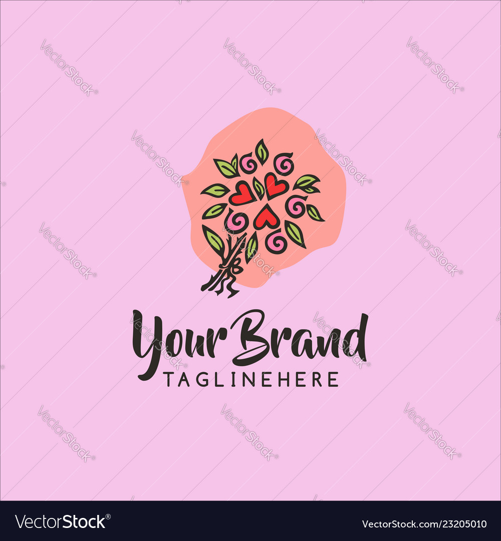 Love flower hand draw logo concept template